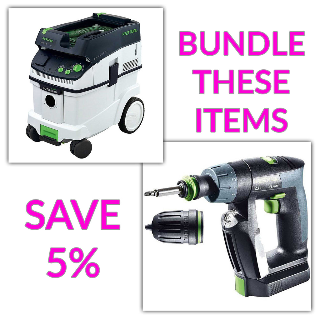 Bundle & Save! - CT 36 AC - AutoClean Dust Extractor + Festool CXS Compact Drill | Centrotec and Keyless Chuck