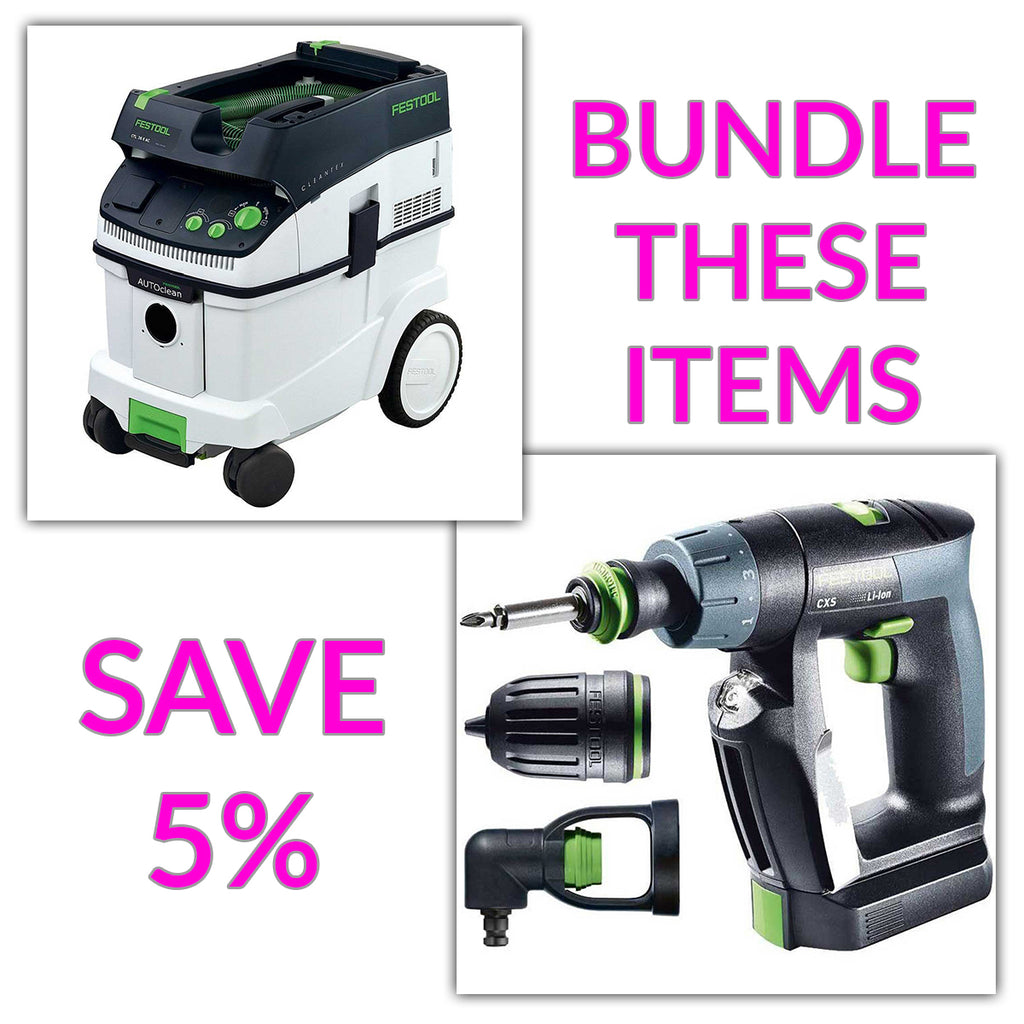 Bundle & Save! - CT 36 AC - AutoClean Dust Extractor + Festool CXS Compact Drill | Centrotec, Keyless and Right-Angle Chuck