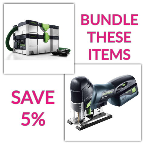 Bundle & Save! - CT SYS - Compact Systainer Dust Extractor + Festool Cordless Carvex Barrel Grip Jigsaw | Battery & Charger