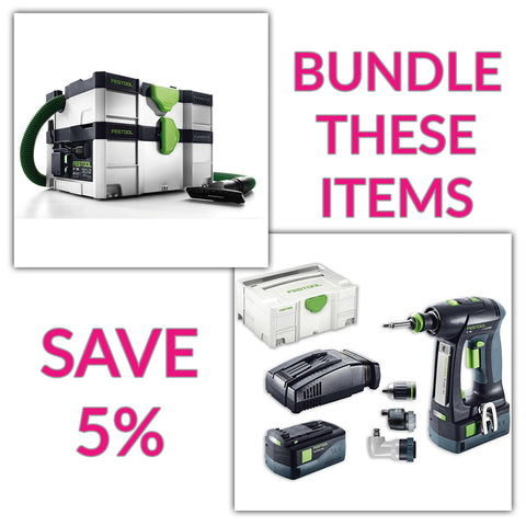 Bundle & Save! - CT SYS - Compact Systainer Dust Extractor + Festool C 18 Drill with Airstream Batteries | Set
