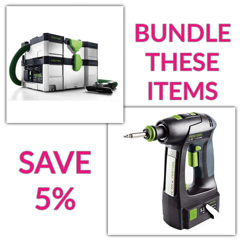 Bundle & Save! - CT SYS - Compact Systainer Dust Extractor + Festool C 18 Drill with Airstream Batteries | Basic