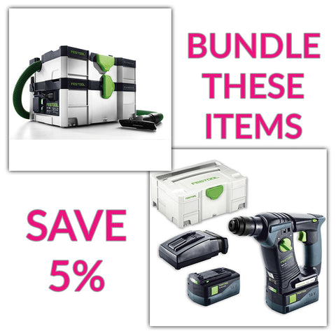 Bundle & Save! - CT SYS - Compact Systainer Dust Extractor + Festool BHC 18 SDS Rotary Hammer Drill | Set