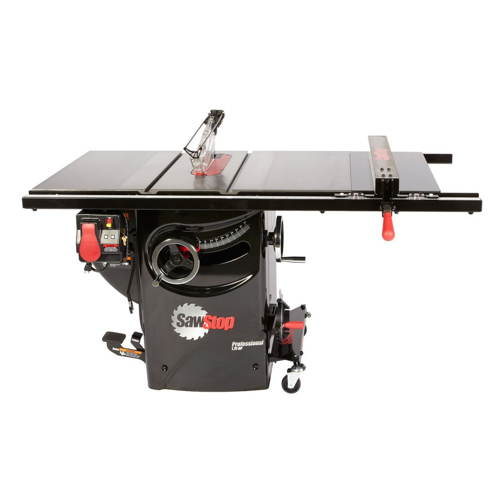 SawStop Professional Cabinet Saw with premium fence, dust collection blade guard, and integratd mobile base
