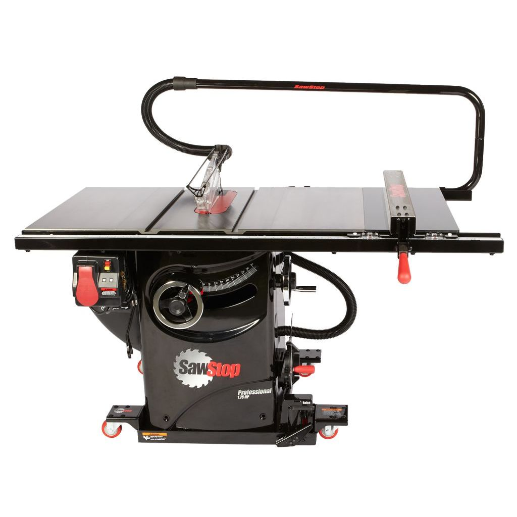SawStop Professional Cabinet Saw with overarm dust colleciton and industrial mobile base