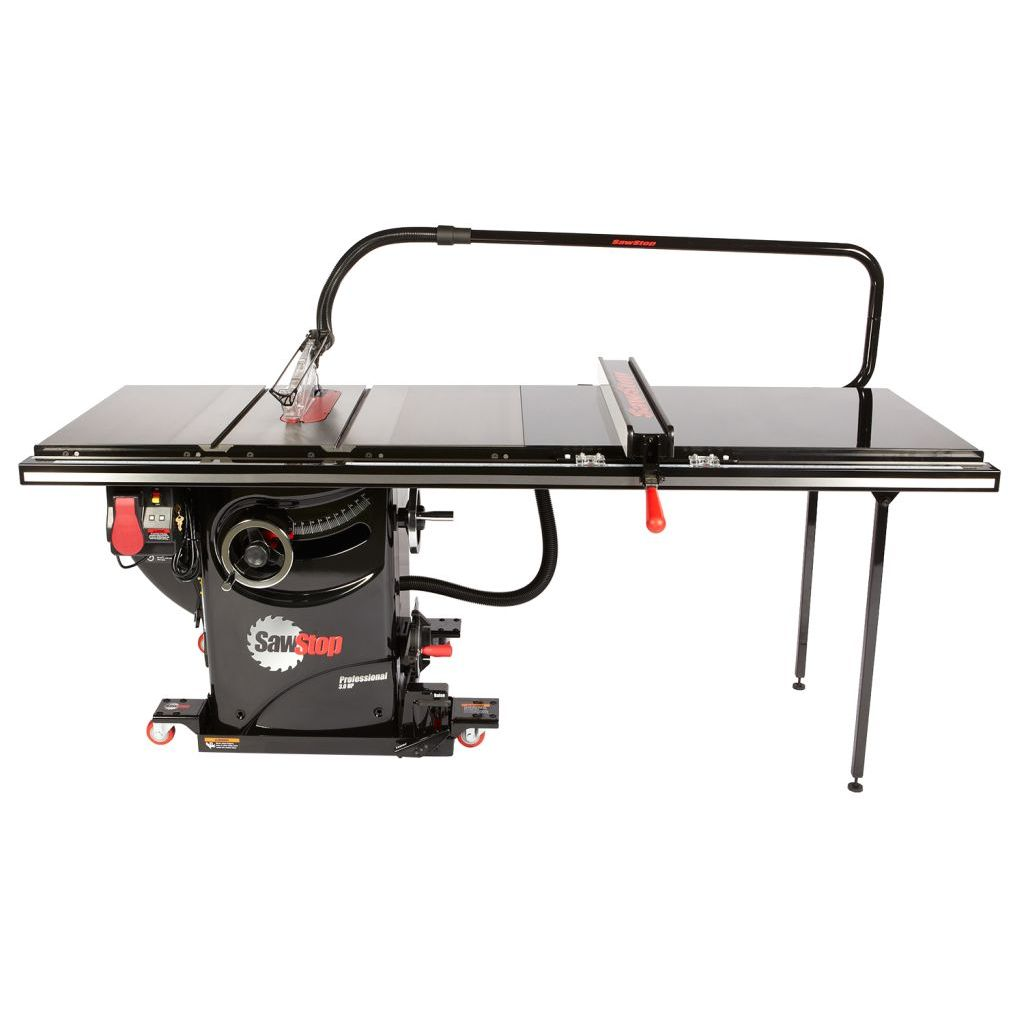 "SawStop Professional Cabinet Saw with 52"" T-Glide Fence, overarm dust collection and industrial mobile base"