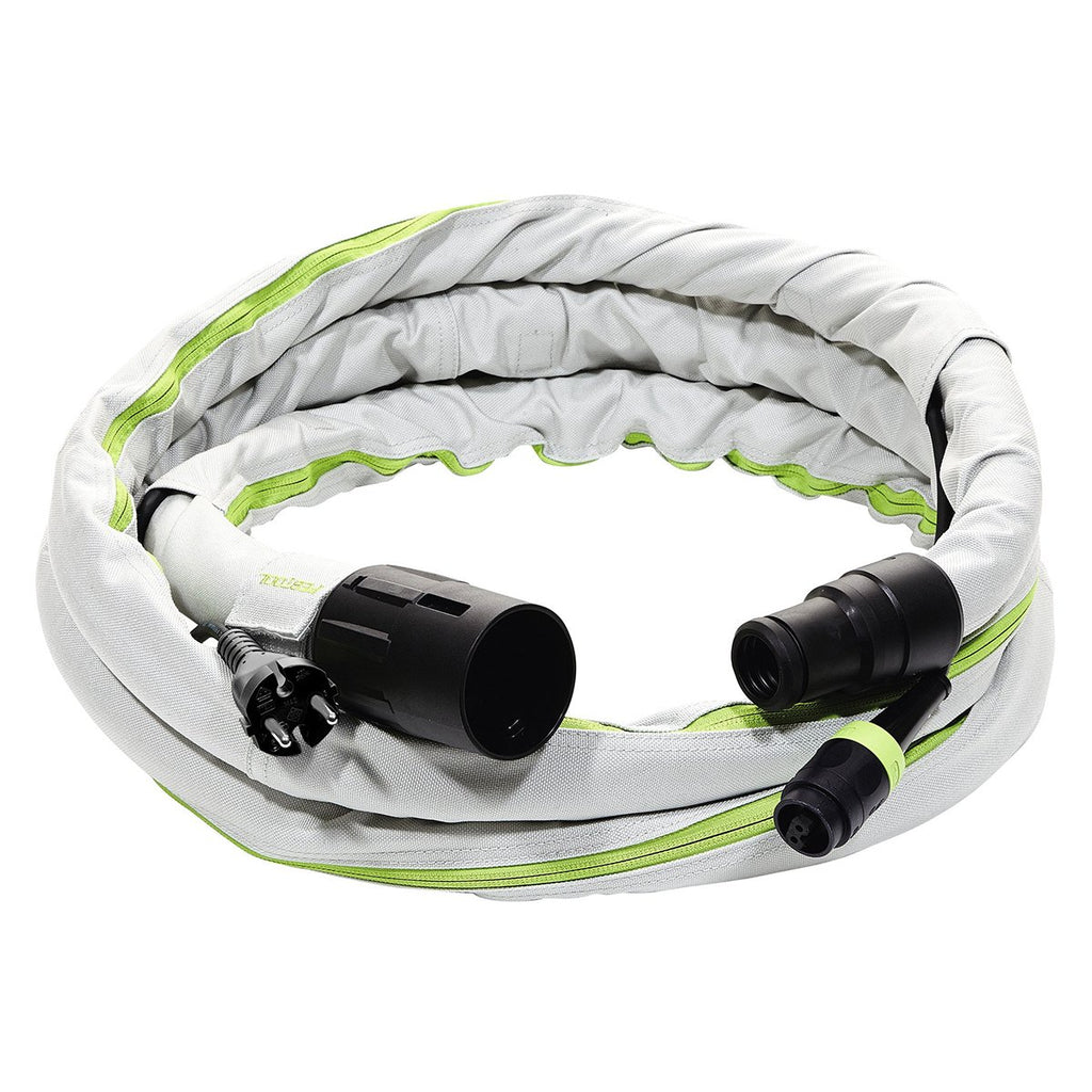 Sleeved Dust Extractor Hoses With Plug It Cords - 3.5m, 5m, 10m Lengths