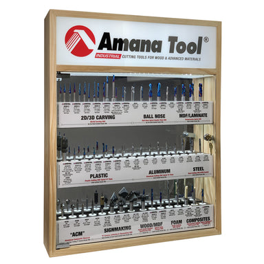 AMS-CNC-60 - Master CNC Router Bit Collection, 57-Pcs with LED Illuminated, Mirrored Interior and Solid Wood Display