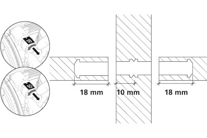 Installation instructions with dimensions for Lamello Tenso P-14 Connectors