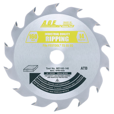 Amana MD160-140 Carbide Tipped Ripping Saw Blade 160mm D x 14T ATB, 28 Deg, 20mm Bore Fits FESTOOL® TS 55 and Other Track Saw Machines