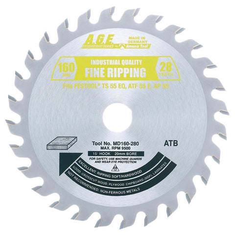 Amana MD160-280 Carbide Tipped Saw Blade fits FESTOOL® TS 55and Other Track Saw Machines, 160mm Dia x 28T ATB, 15 Deg, 20mm Bore, General Purpose Circular Saw Blade, Fits TS 55 EQ, ATF 55 E, AP 55