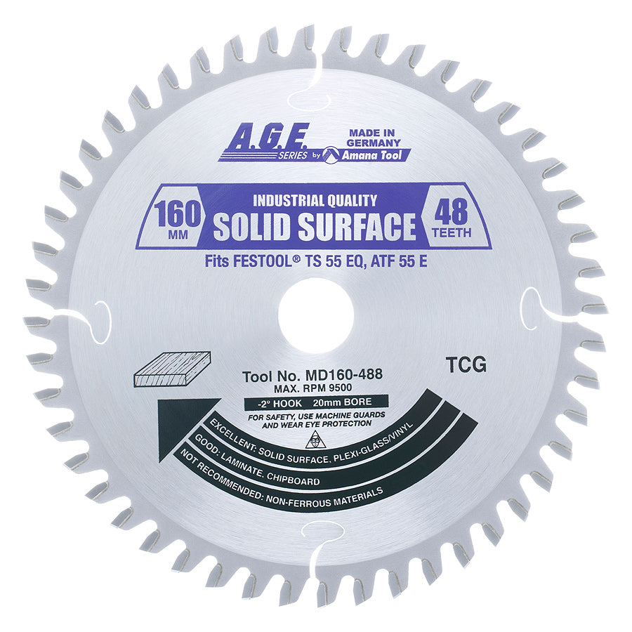 Amana MD160-488 Carbide Tipped Ripping Saw Blade 160mm D x 48T M-TCG, -2 Deg, 20mm Bore for Cutting Solid Surface Materials. Fits FESTOOL® TS 55 and Other Track Saw Machines