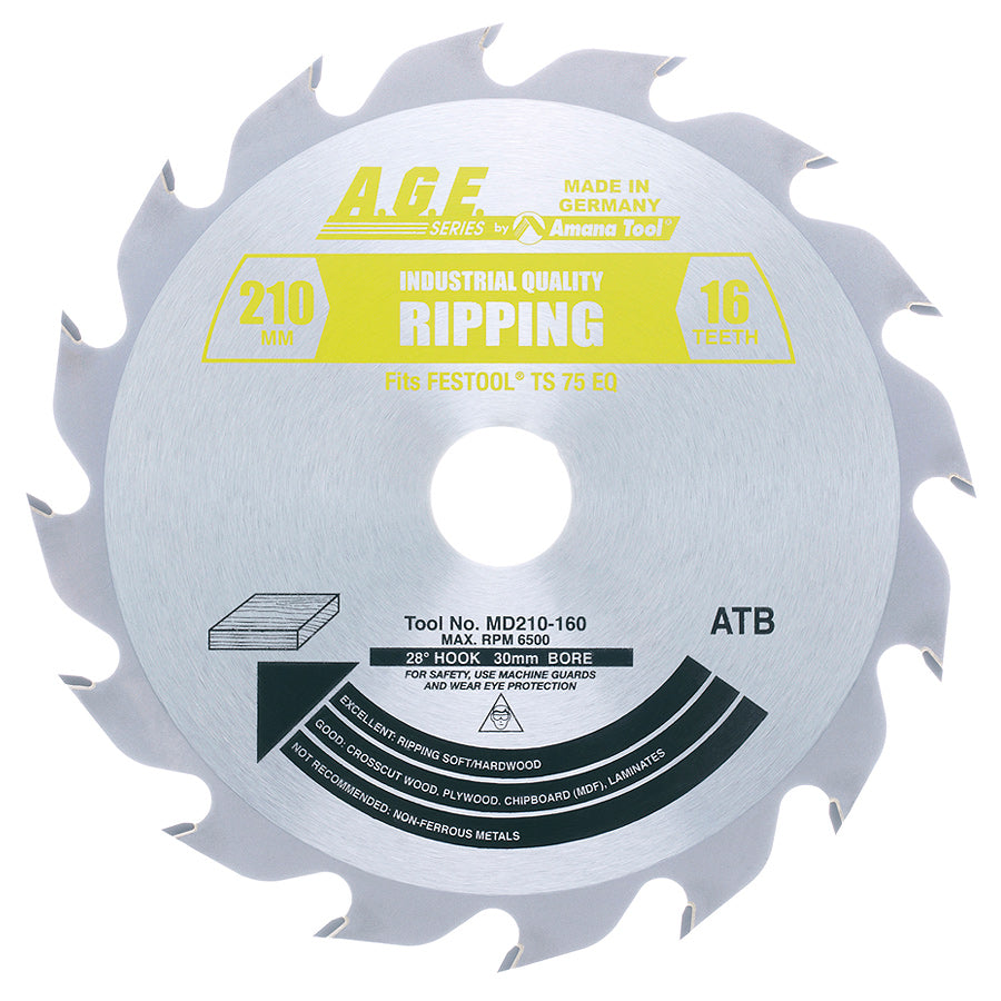 Amana MD210-160 Carbide Tipped Ripping Saw Blade 210mm D x 16T ATB, 28 Deg, 30mm Bore Fits FESTOOL® TS 75 and Other Track Saw Machines