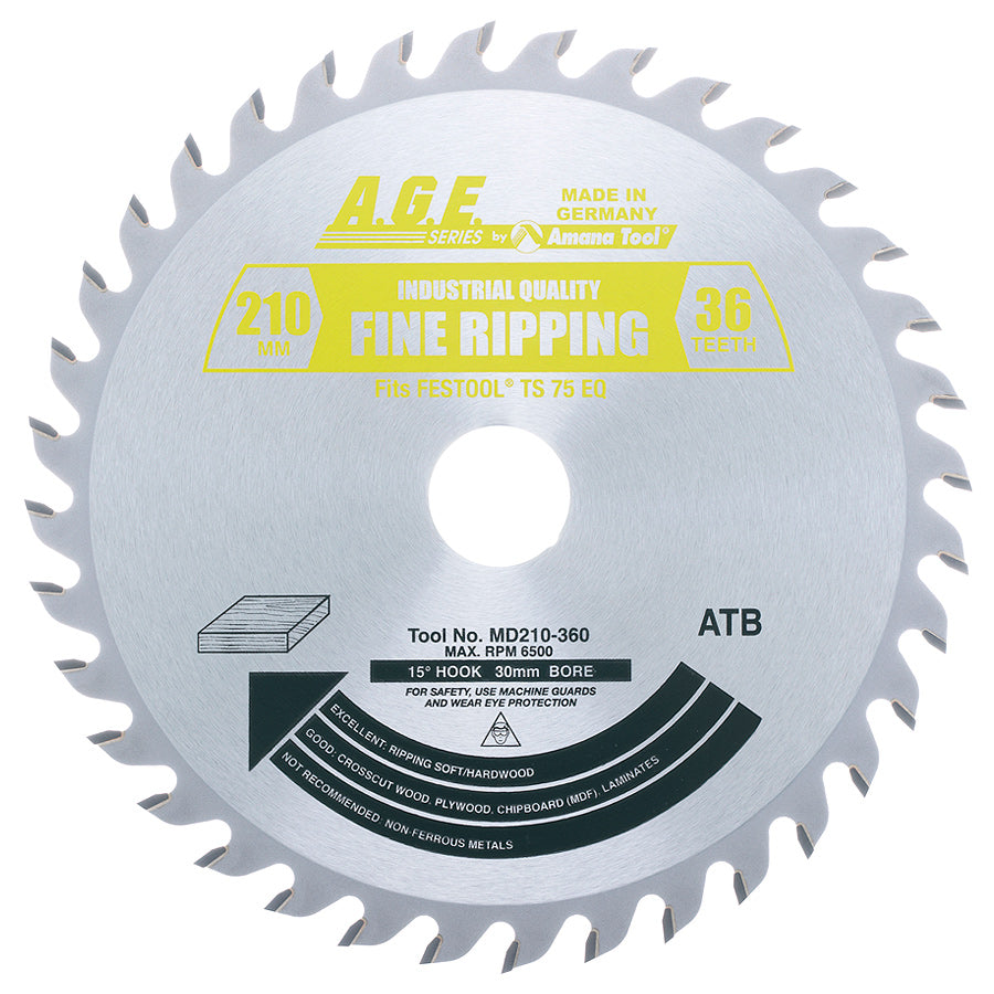 Amana MD210-360 Carbide Tipped General Purpose Saw Blade 210mm D x 36T ATB, 15 Deg, 30mm Bore Fits FESTOOL® TS 75 and Other Track Saw Machines