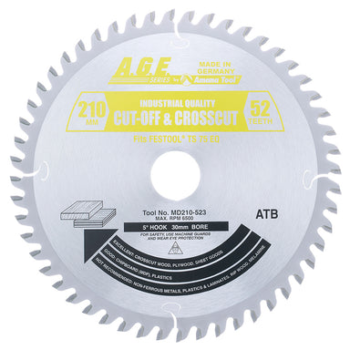 Amana MD210-523 Carbide Tipped Saw Blade 210mm D x 52T ATB, 15 Deg, 30mm Bore for Fine Crosscuts in Sheet Goods, Melamine. Fits FESTOOL® TS 75 and Other Track Saw Machines