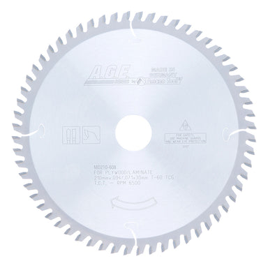 Amana MD210-608 Carbide Tipped saw Blade 210mm D x 60T TCG, -2 Deg, 30mm Bore for Cutting Solid Surface and Laminate. Fits FESTOOL® TS 75 and Other Track Saw Machines