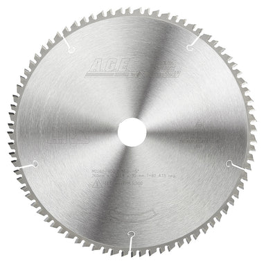Amana MD260-800 Carbide Saw Blade 260mm D x  80T, TCG, -5 Deg, 30mm Bore for Wood, Building Panel and Soft Plastics. Fits FESTOOL Kapex® Mitre Saw