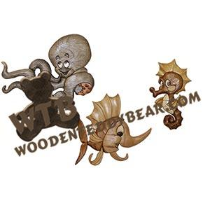 Swordfish Octopus Seahorse Intarsia scroll saw pattern | The Wooden Teddy Bear