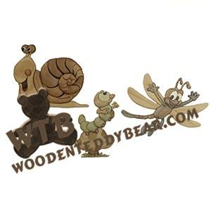 Snail Caterpillar Dragonfly Intarsia scroll saw pattern | The Wooden Teddy Bear