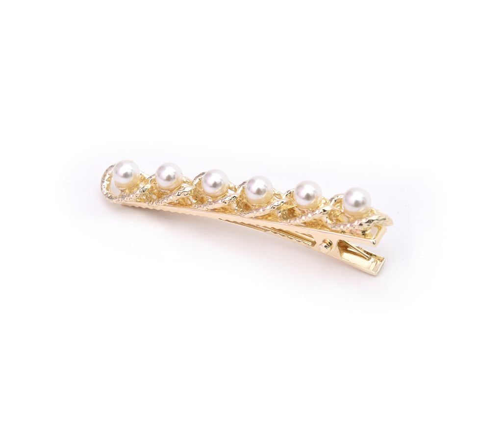 Gold Clamp Hair Clip with Pearls - Le Angelique