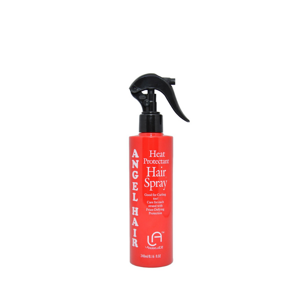 Bright fire extinguisher style, red bottle with black spray top of angel hair heat protectant.