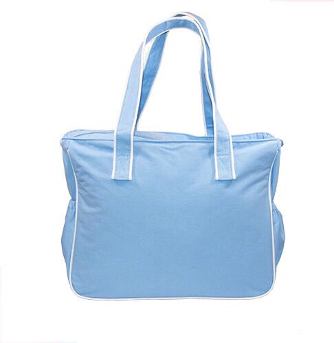 Light Blue Piping Diaper Bag