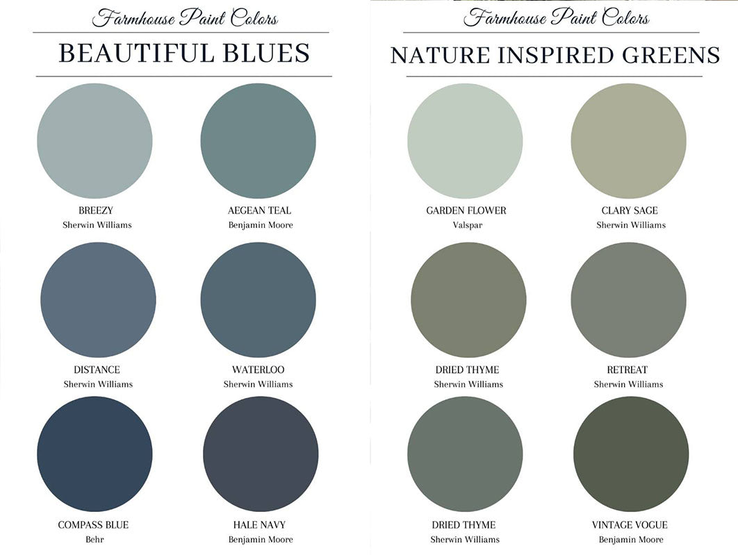 Farmhouse paint colors. Lies and greens