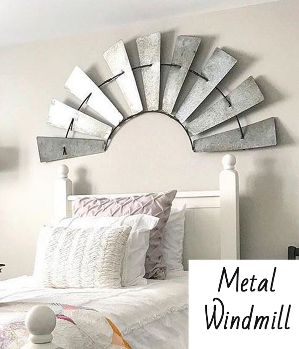 Metal Half Windmill Wall Decor