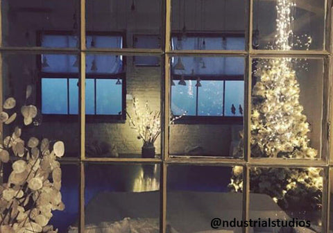 Industrial Christmas home decor with hanging angels