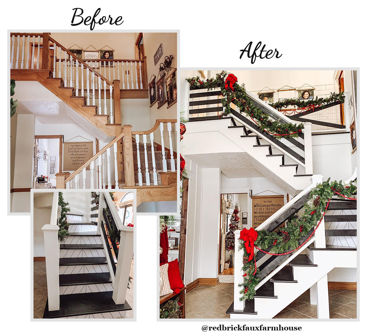 Red Brick Farmhouse Before and After Entryway Pictures