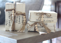 Wooden Book Stack Decor