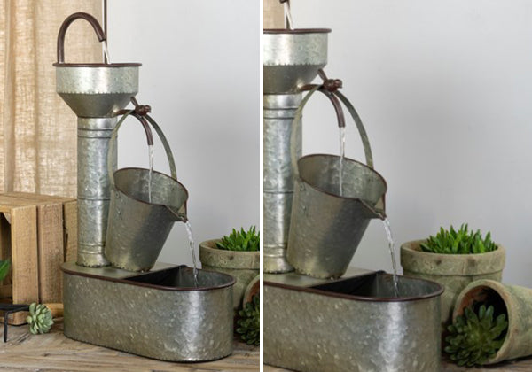 Galvanized Metal Garden Fountain with Water Pump
