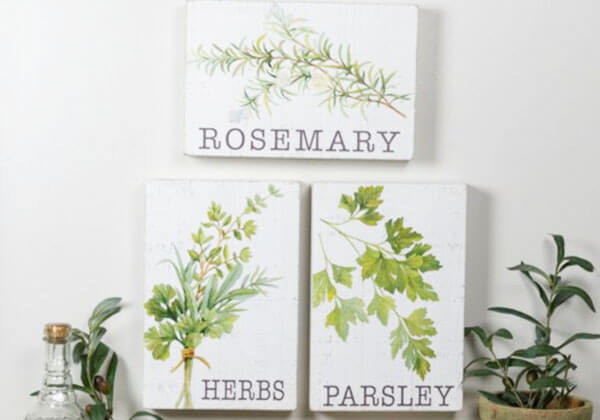 Rosemary, Herbs, and Parsley Wood Botanical Sign