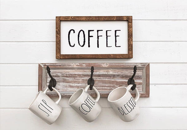 Small Wood Framed Coffee Sign