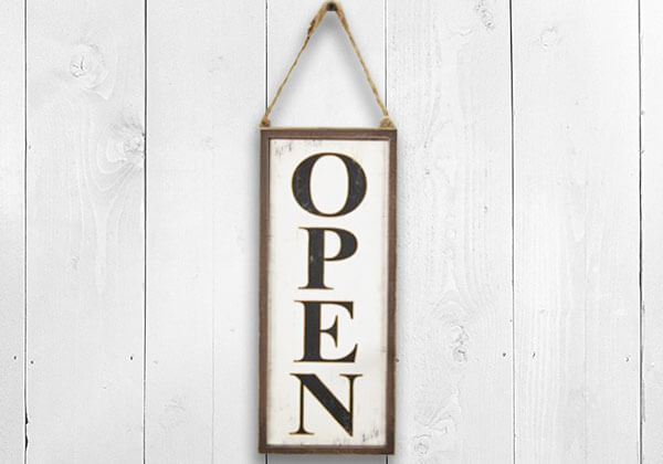 Wooden open sign with jute rope