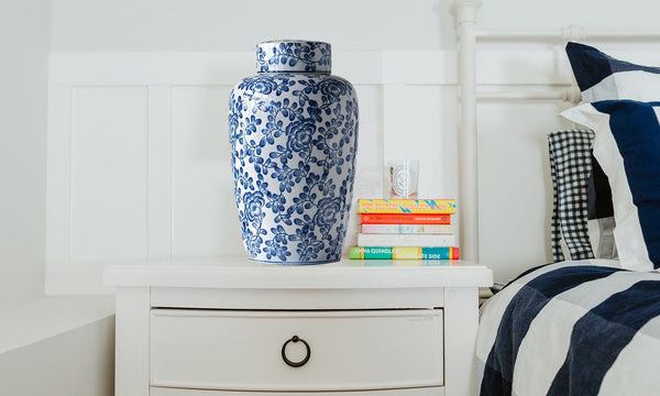 Blue and White Ceramic Ginger Jar