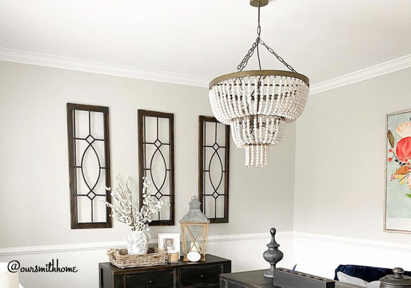 3 Tier White Bead Chandelier