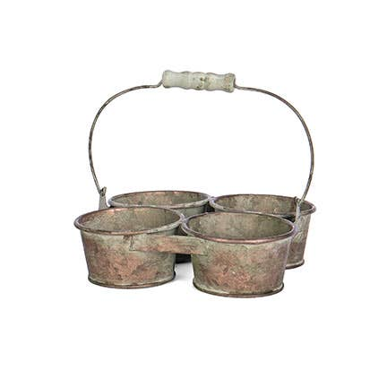 Square Tin 4-pot Planter Dh