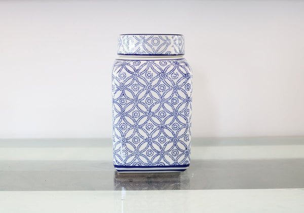 "8"" Blue and White Englishcombe Ceramic Ginger Jar"