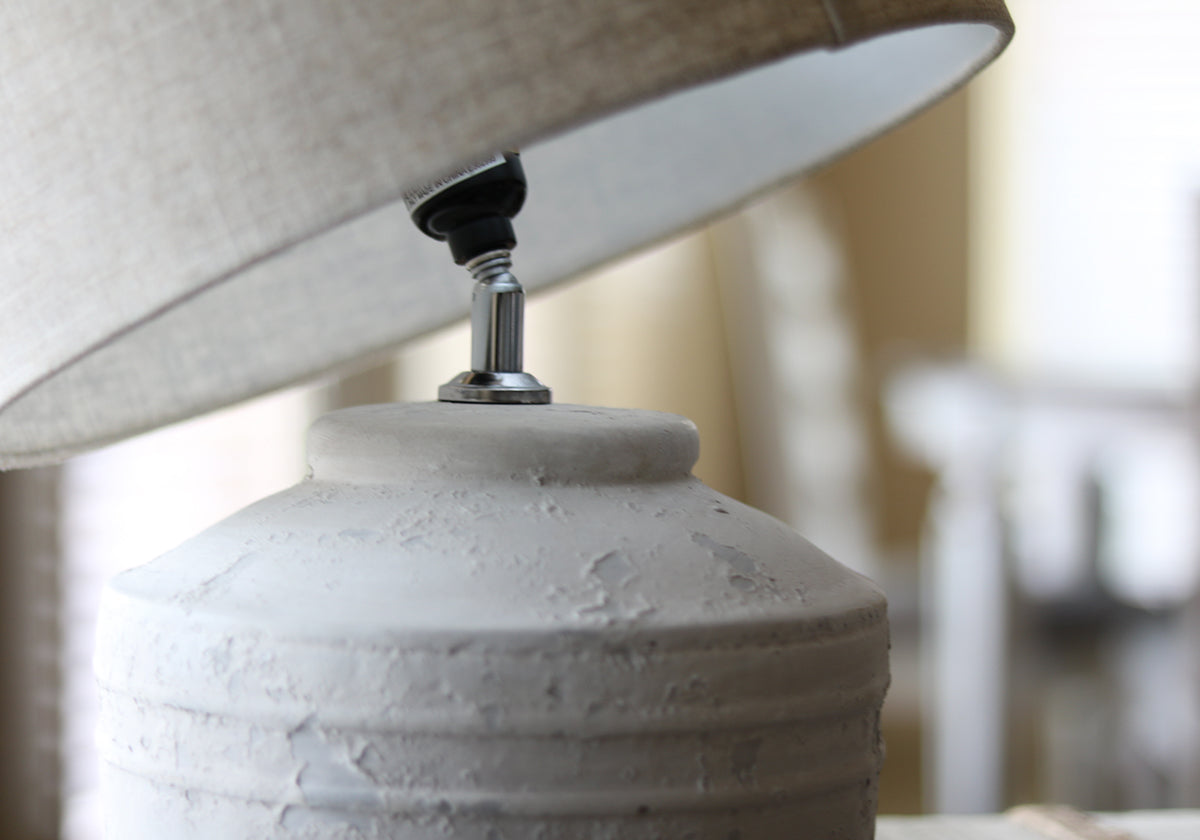 Almut Stone Lamp With Linen Shade
