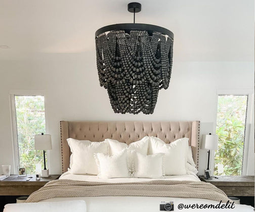 Black Wood Beaded Chandelier