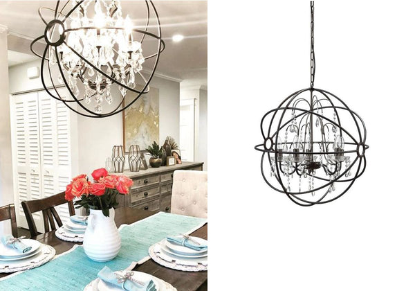 Black Crystal Orb Chandelier