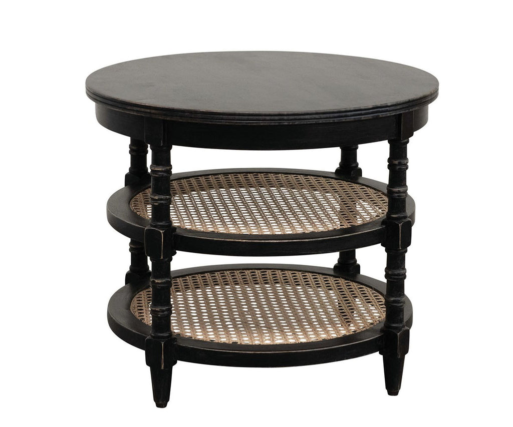 Round Table with Cane Shelves - 2 Styles