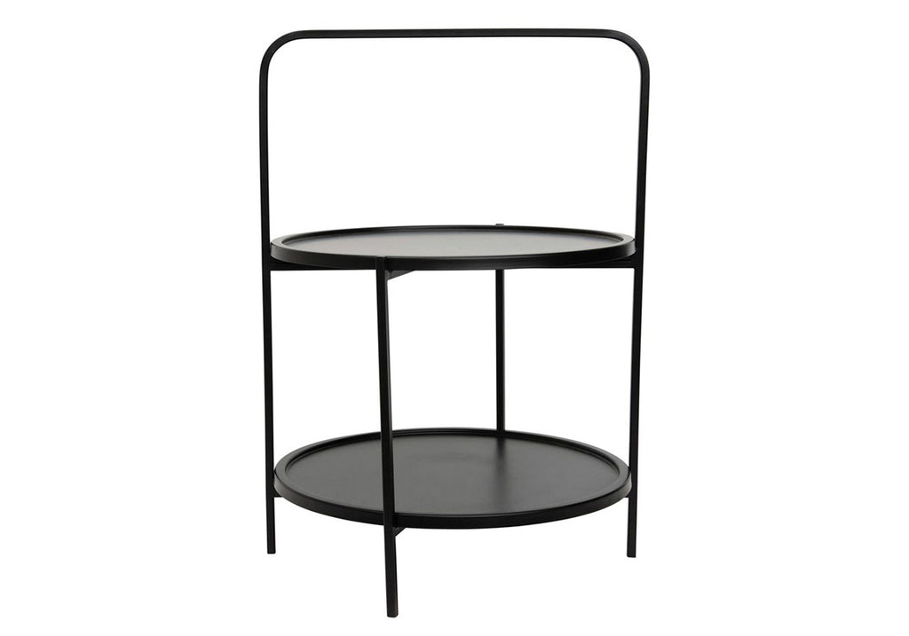 Black metal side table with removable trays