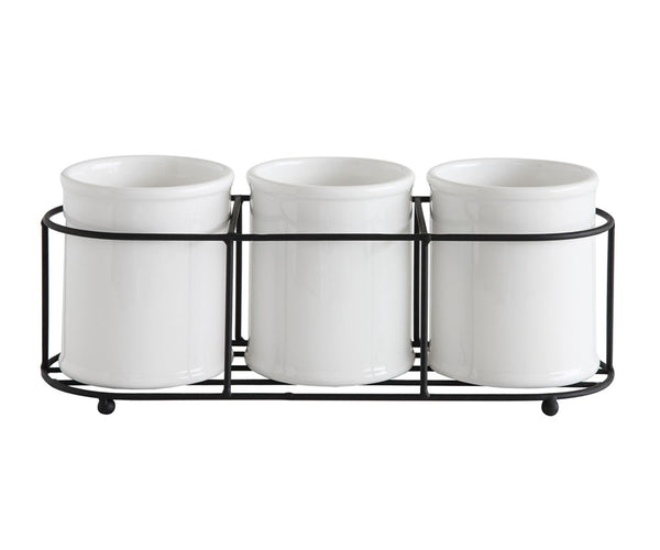 Metal Tray Set with 3 Ceramic Holders
