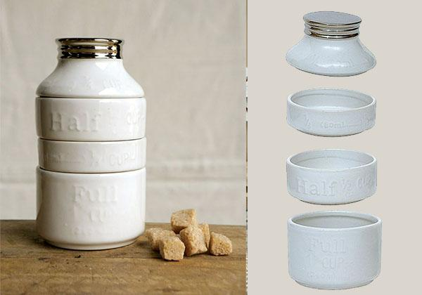 stackable measuring cup set in the shape of a vintage milk jug