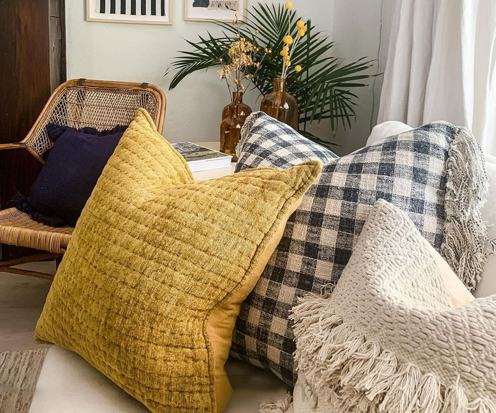 Check Pillow with Fringe