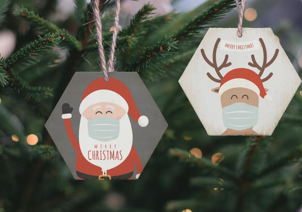 Masked Christmas ornaments with jute string