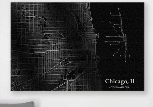 Large Vintage Style Map of Chicago in Black And White