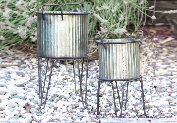 Metal Corrugated Planter Set