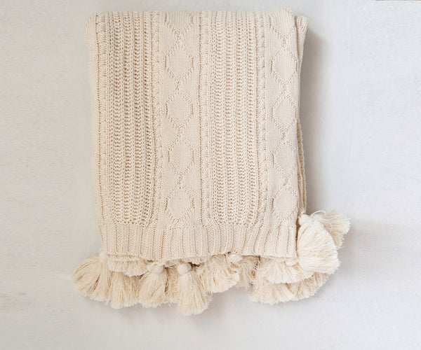 Cozy Cream Throw Blanket